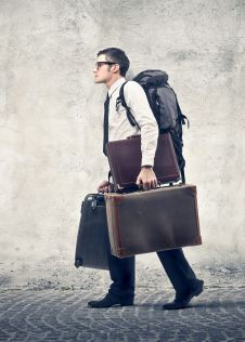 Office worker with baggage