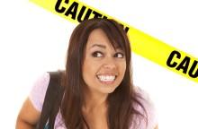 Woman Under Caution Tape
