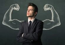 Young businessman wondering with sketched strong and muscled arm