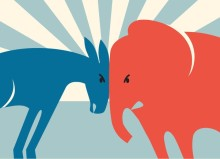 democrat donkey and republican elephant butting heads