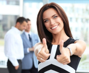business concept - attractive businesswoman with team in office