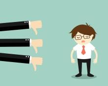 Business concept, businessman get bad feedback.
