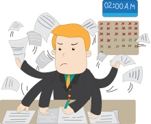 A Cartoon Salary Office Worker Is Busy Working Overtime With Hug