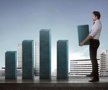 Asian Business Man Carry Heavy Chart Bar