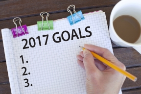 2017 Goals / New year resolutions, plans and aspirations list concept