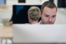 startup business, software developer working on desktop  compute