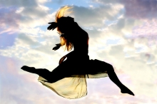 Woman Leaping Proactive Action